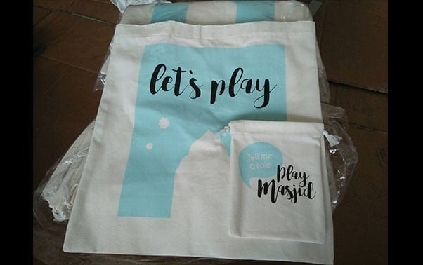 tote bag custom bertuliskan let's play