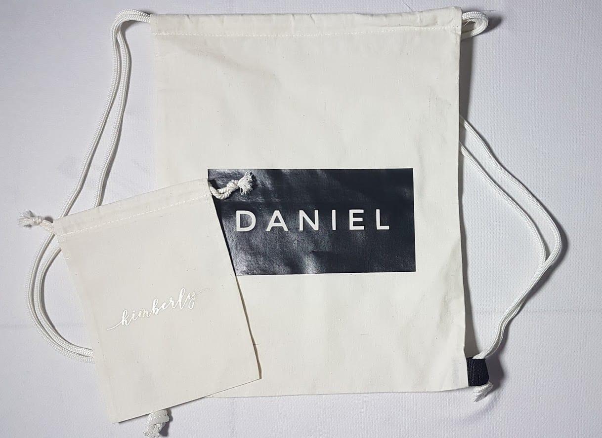 tote bag custom bertuliskan DANIEL