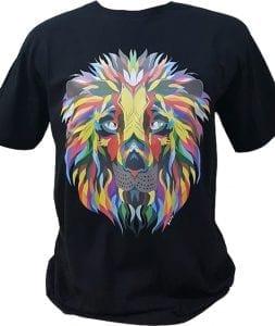 kaos print dengan gambar singa